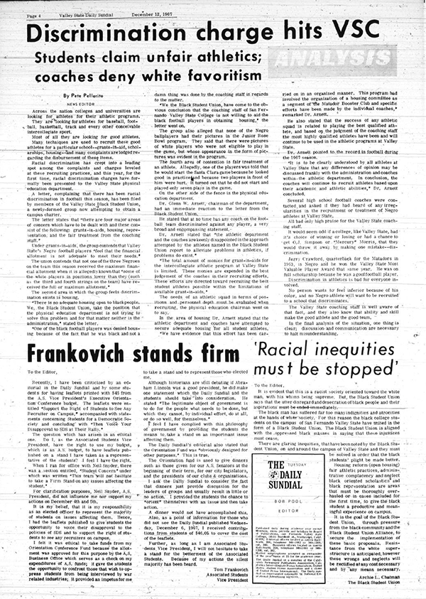 Daily Sundial, December 12, 1967, page 4 (follow link to transcript)