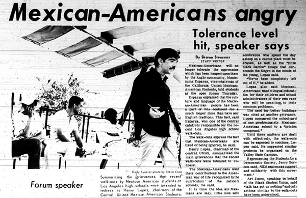 Daily Sundial, March 22, 1968, page 3 (follow link to transcript)