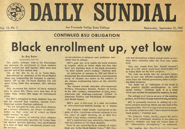 Daily Sundial, September 25, 1968, page 1 (follow link to transcript)