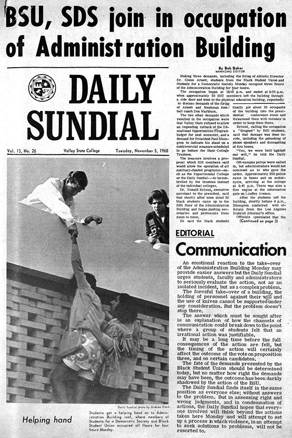 Daily Sundial, November 5, 1968 page 1 (follow link to transcript)