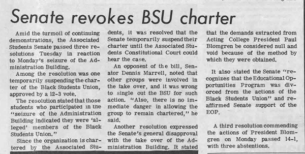 Daily Sundial, November 6, 1968, page 3 (follow link to transcript)