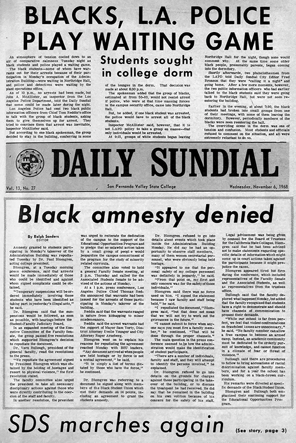 Daily Sundial, November 8, 1968, page 1 (follow link to transcript)