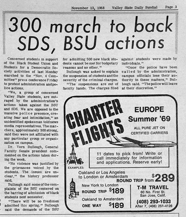 Daily Sundial, November 13, 1968 page 3 (follow link to transcript)