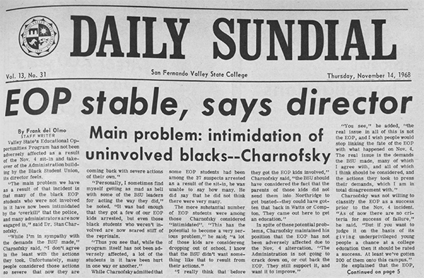 Daily Sundial, November 14, 1968, page 1 (follow link to transcript)