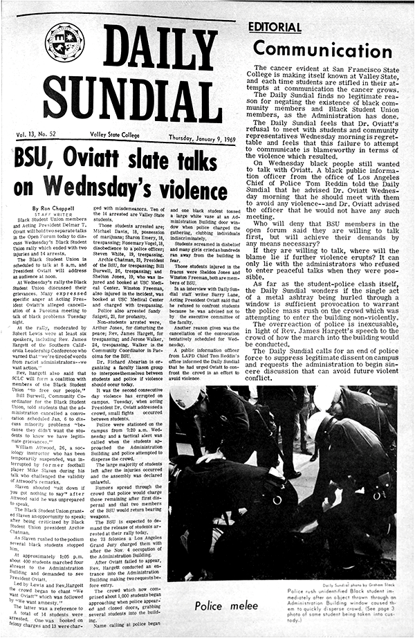 Daily Sundial, January 8, 1969, page 1 (follow link to transcript)