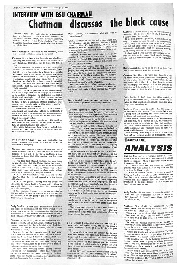 Daily Sundial, January 9, 1969, page 2 (follow link to transcript)