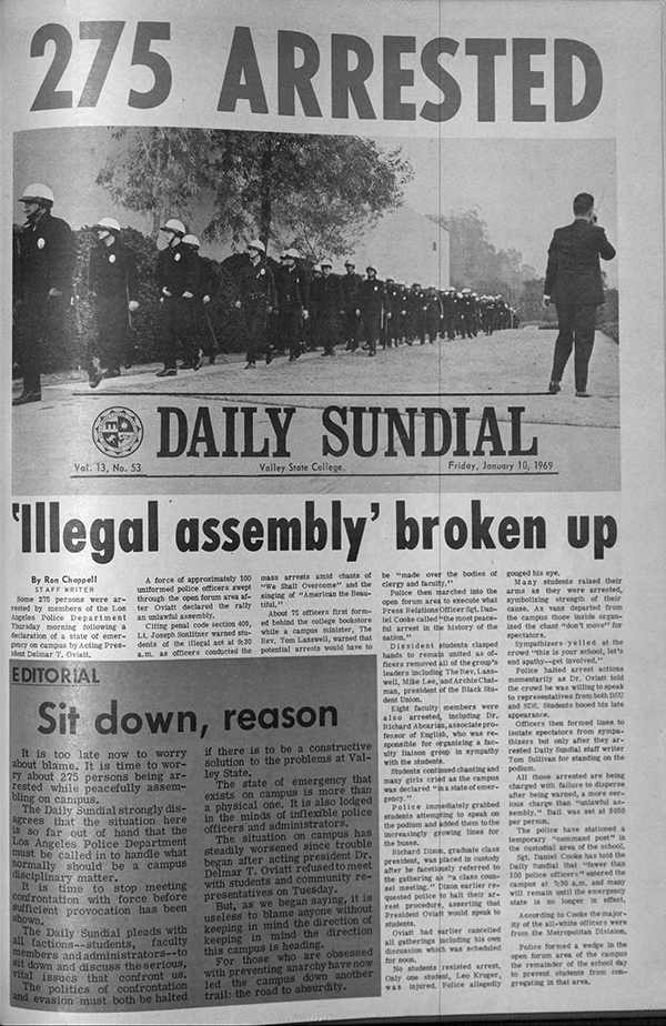 Daily Sundial, January 10, 1969, page 1 (follow link to transcript)
