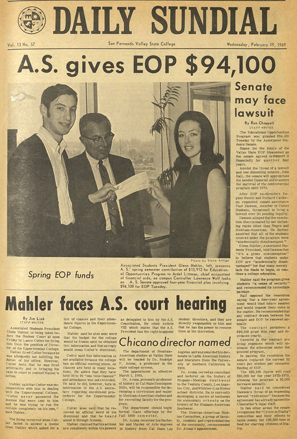 Daily Sundial, February 19, 1969, page 1 (follow link to transcript)