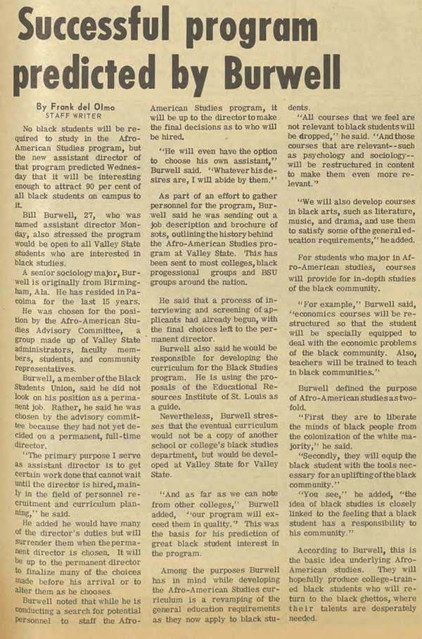 Daily Sundial, March 6, 1969, page 3 (follow link to transcript)