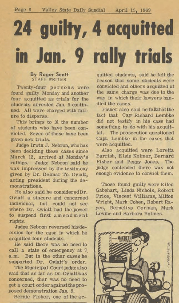 Daily Sundial, April 15, 1969, page 6 (follow link to transcript)