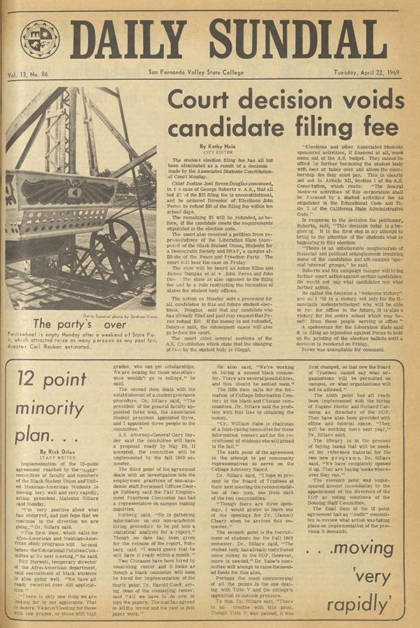 Daily Sundial, April 22, 1969, page 1 (follow link to transcript)