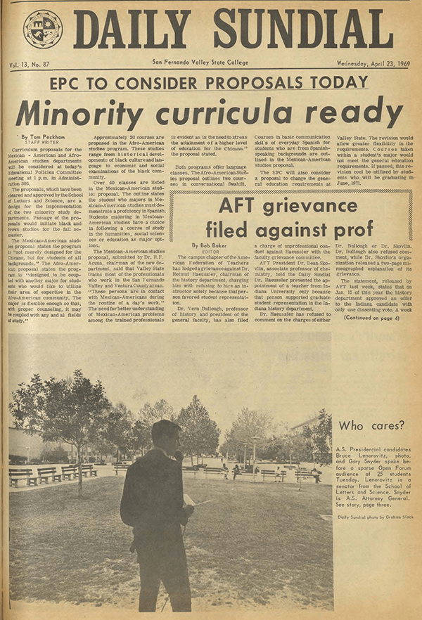 Daily Sundial, April 23, 1969, page 1 (follow link to transcript)