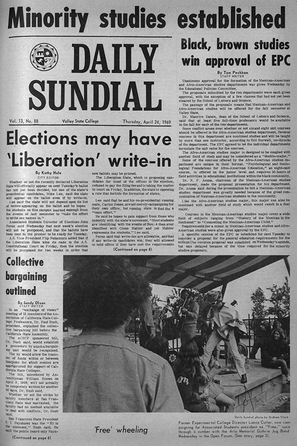 Daily Sundial, April 24, 1969, page 1 (follow link to transcript)