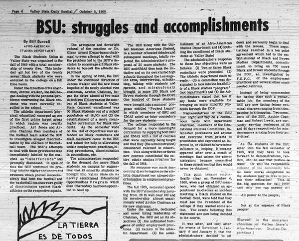 Daily Sundial, October 2, 1969, page 4 (follow link to transcript)