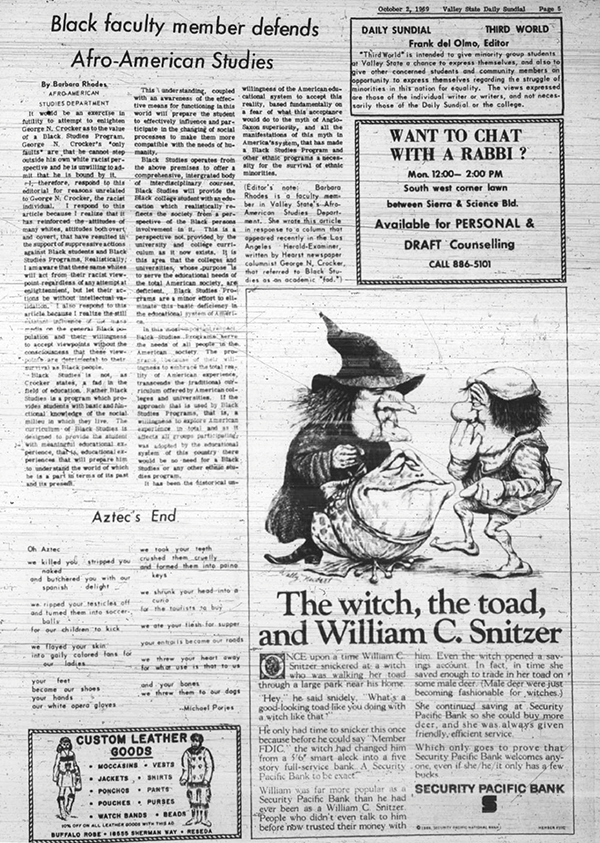 Daily Sundial, October 2, 1969, page 5 (follow link to transcript)