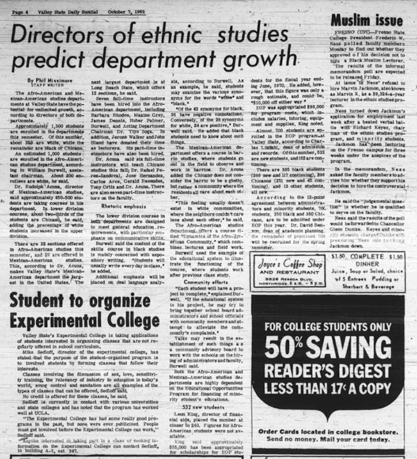 Daily Sundial, October 7, 1969, page 4 (follow link to transcript)