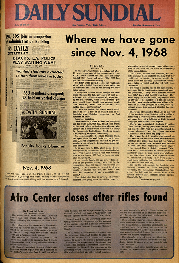 Daily Sundial, November 4, 1969, page 1 (follow link to transcript)