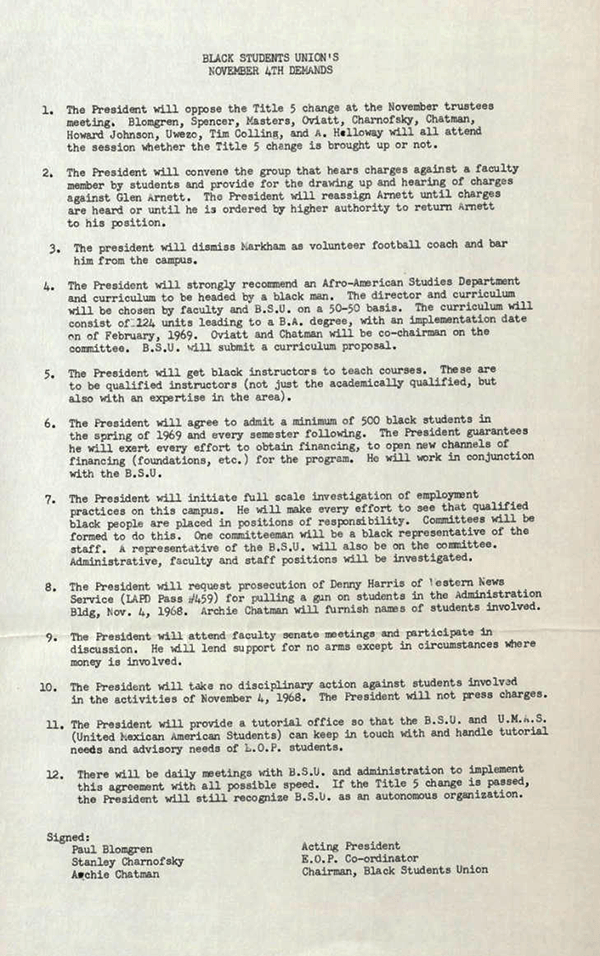 San Fernando Valley State College Black Student Union's List of Demands, November 4, 1968 (follow link to transcript)