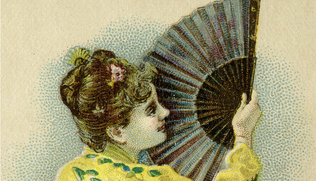 Painting of woman holding a fan