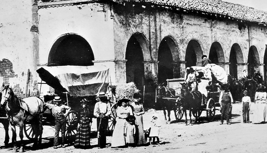 People outside a San Fernando mission