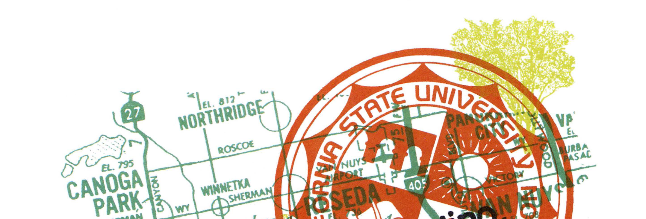 Overlapped images of a CSUN map and stamp