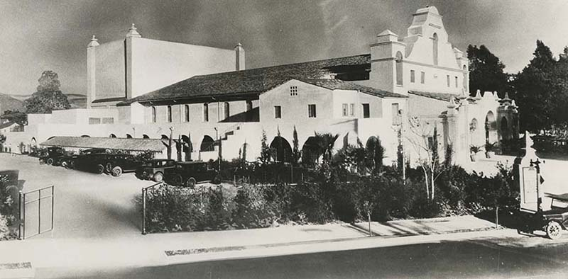 The San Gabriel Mission Playhouse as viewed from outside.
