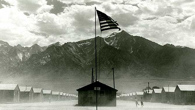 View of US Flag in a camp