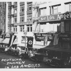 Photograph of German flags in Los Angeles