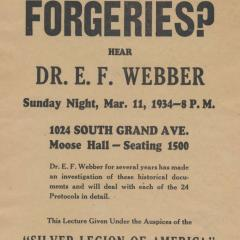 Handbill for Are the Protocols Forgeries?
