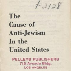 Pamphlet cover for Cause of Anti-Jewism in the US