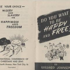 Pamphlet cover for Do You Want to be Happy and Free?