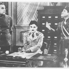 Film still showing Charlie Chaplin in The Great Dictator