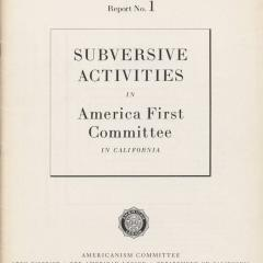 Report cover for Subversive Activities in America First Committee