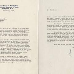 Letter from J. Edgar Hoover to Joseph Roos