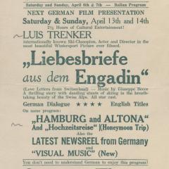 Handbill for the Liebesbriefe aus dem Engadin