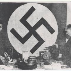 Photograph of Nazi paraphernalia seized in a raid