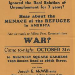 Handbill criticizing Roosevelt about unemployment