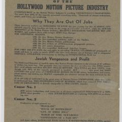 Flier for Suicide of the Hollywood Motion Picture Industry
