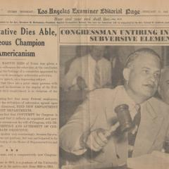 Newspaper page showing a congressman