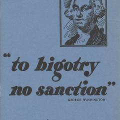Pamphlet cover for To Bigotry No Sanction