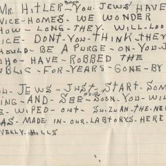 Hate mail or letter for Mr. Hitler Says