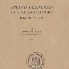 Booklet containing Adolf Hitler speech