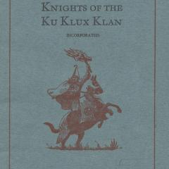 Booklet cover for the Knights of the Ku Klux Klan