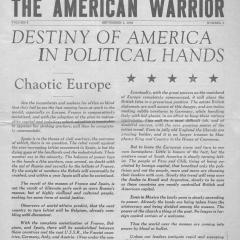 Newspaper page for the American Warrior