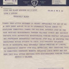 Telegram note from Morris D. Waldman to Leon Lewis