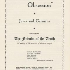 Pamphlet cover for Nazi Obsession