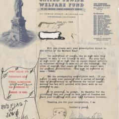 Jewish Welfare Fund Appeal letter
