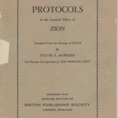 Pamphlet cover for Protocols of the Meetings