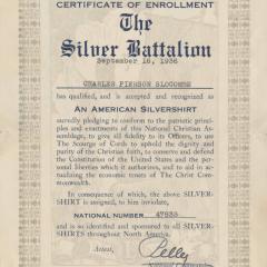 Certificate for Silver Battalion