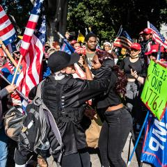 People with Trump campaign and American Flags attack a black woman; on carries a sign: This Is OUR 1776!